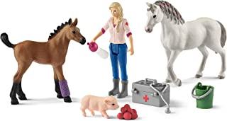 Schleich Farm World Vet Visiting Mare and Foal 9-piece Educational Playset for Kids Ages 3-8