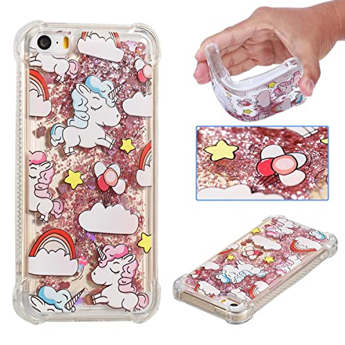 DENDICO iPhone 5 / 5s / SE Case, Silicone Case with Glitter Liquid Design for Apple iPhone 5 / iPhone 5s / iPhone SE, Shock-Absorption Protective Case Unicorn, Pink