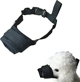 FUNPET Dog Muzzle Adjustable for Biting Chewing Licking and Barking Puppy Pet with Soft Mesh
