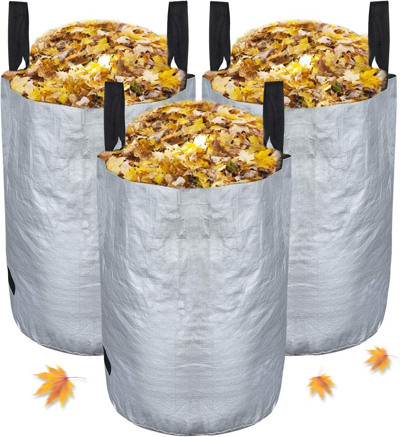 Pack de 3 bolsas de basura para jardín (63 cm, 45 cm), Chalpr impermeables con asas, bolsas de hierba de hojas a prueba de desgarros, 1 par de guantes de jardinería (plata)