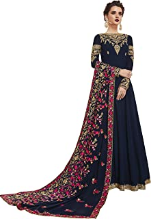 ZORY Indian Women Wear Navy Blue Color Faux Georgette Fabric Viscose Embroidery Indian Dresses For Women (Semi-Stitched)