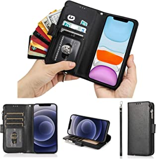 Cavor for iPhone 12 Mini Case,PU Leather Zip Pocket Wallet Flip Cover Case Magnetic Closure Book Design with Kickstand Fea...