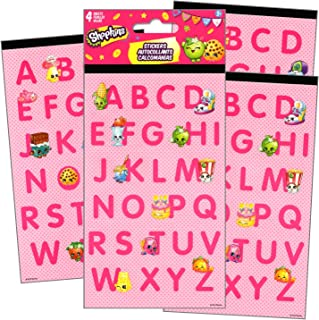 Shopkins Letters Stickers Pack 4 Sheets of Shopkins Alphabet Letter Stickers