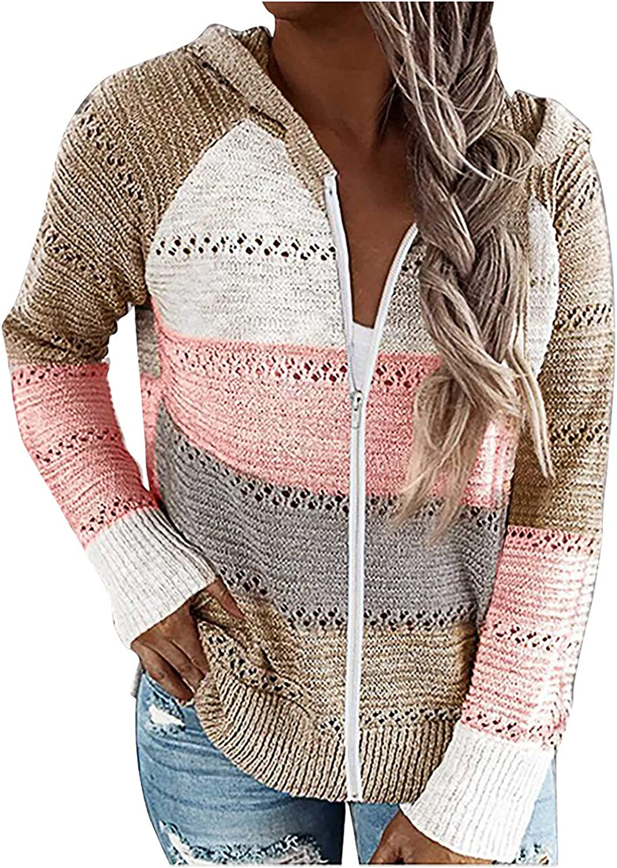Womens Long Sleeve Cardigan Casual Color Block Zip Up Hoodie Sweaters Sweatshirts