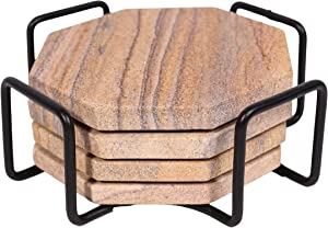 Marbco Sandstone Water Absorbent Hand Crafted Octagon Coasters with Holder for Drinks 4 Inches Wide Thirsty Stone Bar/Drink Coasters Made from Real Solid Stone (with Holder, Set of 4)