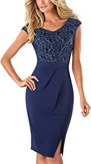 Elegant Women's V Neck Sleeveless Floral Embroidered Split Knee Length Bodycon Cocktail Dress B431