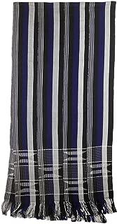 NOVICA Black and White Kente Cloth Cotton Scarf, Textured Lapis Blue'