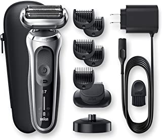 Braun Series 7 7027cs Flex Electric Razor for Men with Beard Trimmer and Charging Stand, Wet & Dry, Rechargeable, Cordless Foil Shaver, Silver