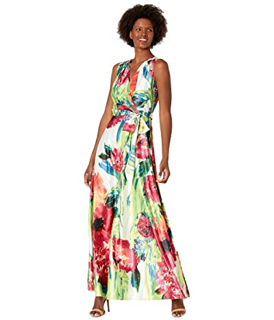 Tahari by ASL Stretch Charmeuse Garden Party Floral Maxi Dress