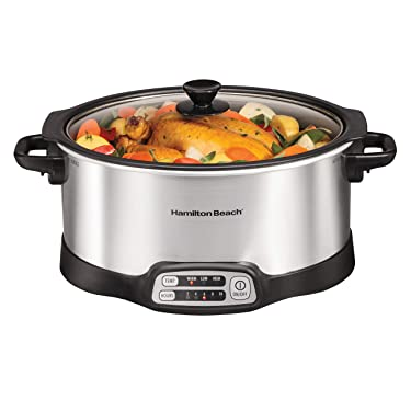 Hamilton Beach Programmable Slow Cooker, Stovetop Sear & Cook, 6 Quarts, Silver (33662)