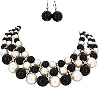 Fashion Jewelry Girls Charming Faux Simulated Pearl Bead Collar Multi-Strand Collar Women Necklace Earrings Set