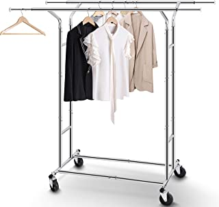 Simple Trending Double Rail Clothes Garment Rack, Heavy Duty Commercial Grade Clothing Rolling Rack on Wheels with Expandable Collapsible Clothing Rack, Holds up to 200 lbs, Chrome
