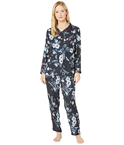 Plush Floral Pajama + Eyemask Set (Black) Women