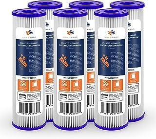 "Aquaboon 6-Pack of 1 Micron Pleated Sediment Water Filter Cartridge 10""x2.5"" Standard Size"