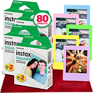FUJIFILM instax Square Instant Film (80 Exposures) for SQ6, SP-3, SQ20 + FiberTique Cleaning Cloth