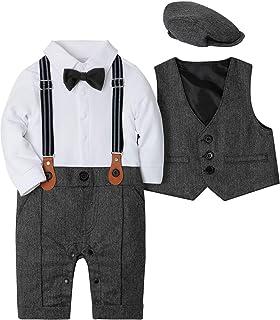 WESIDOM Baby Boy Suit Outfits Set 3pcs,Infant Tuxedo Long Sleeve Gentleman Wedding Jumpsuit & Vest Coat & Beret Hat