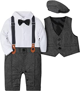 Baby Boy Suit Outfits Set 3pcs,Infant Tuxedo Long Sleeve Gentleman Wedding Jumpsuit & Vest Coat & Beret Hat
