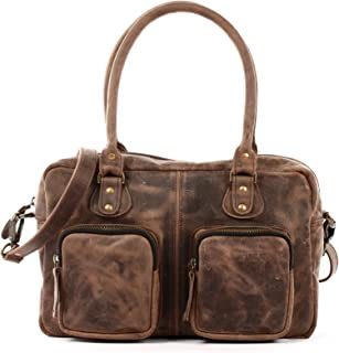 LECONI Schultertasche aus Rinds-Leder Henkeltasche Damentasche für Shopping, Arbeit und Freizeit Used-Look Damen Natur Handtasche Frauen Ledertasche 33x21x9cm LE0046