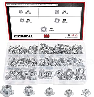DYWISHKEY 140 Pieces M3 M4 M5 M6 M8 Carbon Steel T-Nuts Four Claws Nut Assortment Kit for Wood, Rock Climbing Holds, Cabinetry, Furniture