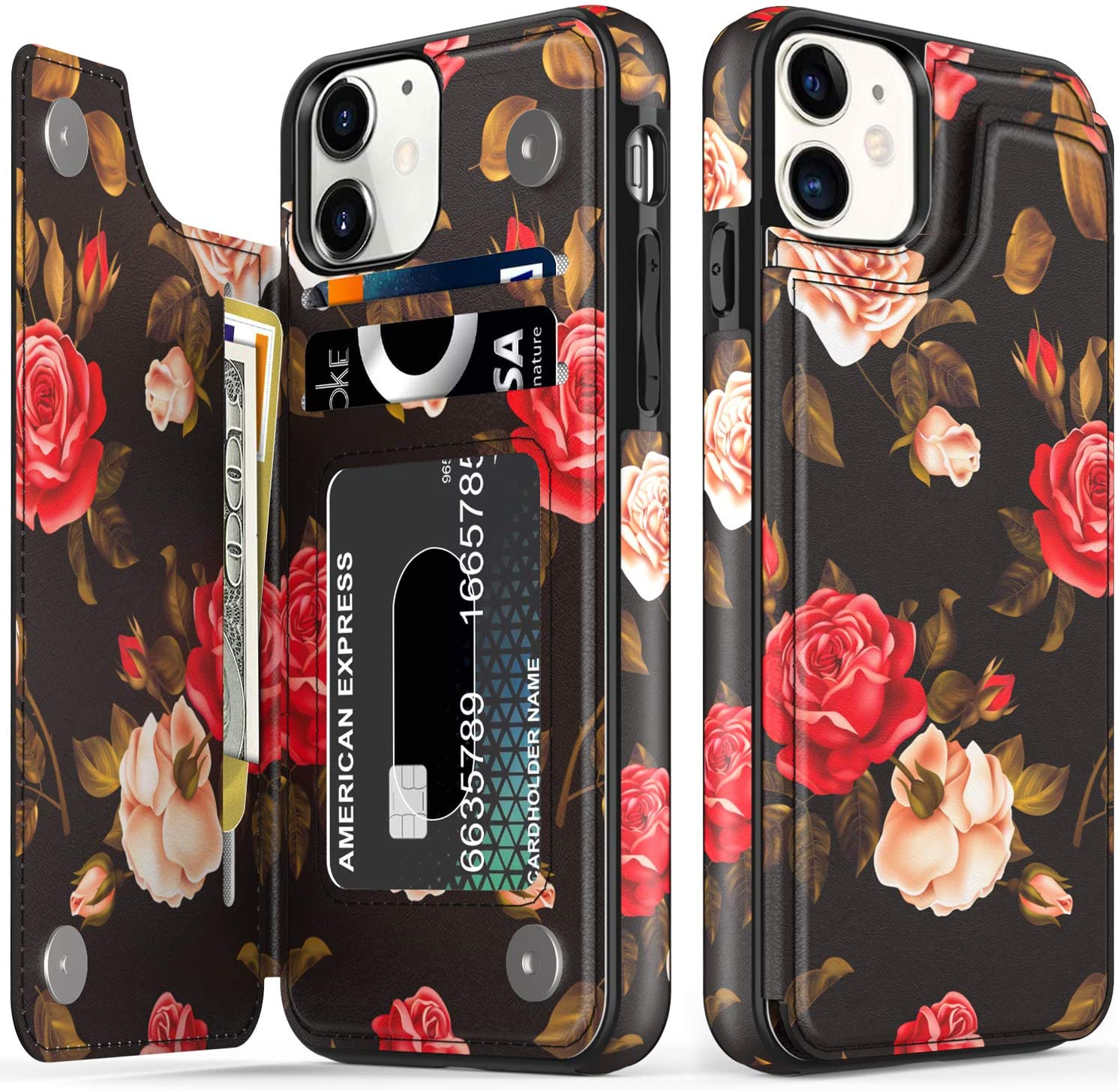 LETO iPhone 11 Case,Leather Wallet Case with Fashion Floral Flower Designs for Girls Women,with Kickstand Card Slots Cover,Protective Phone Case for Apple iPhone 11 6.1