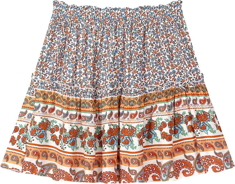 inhzoy Womens Summer Beach Mini Flared Skirt Ruffle Bohemian Floral Print Skater Skirt