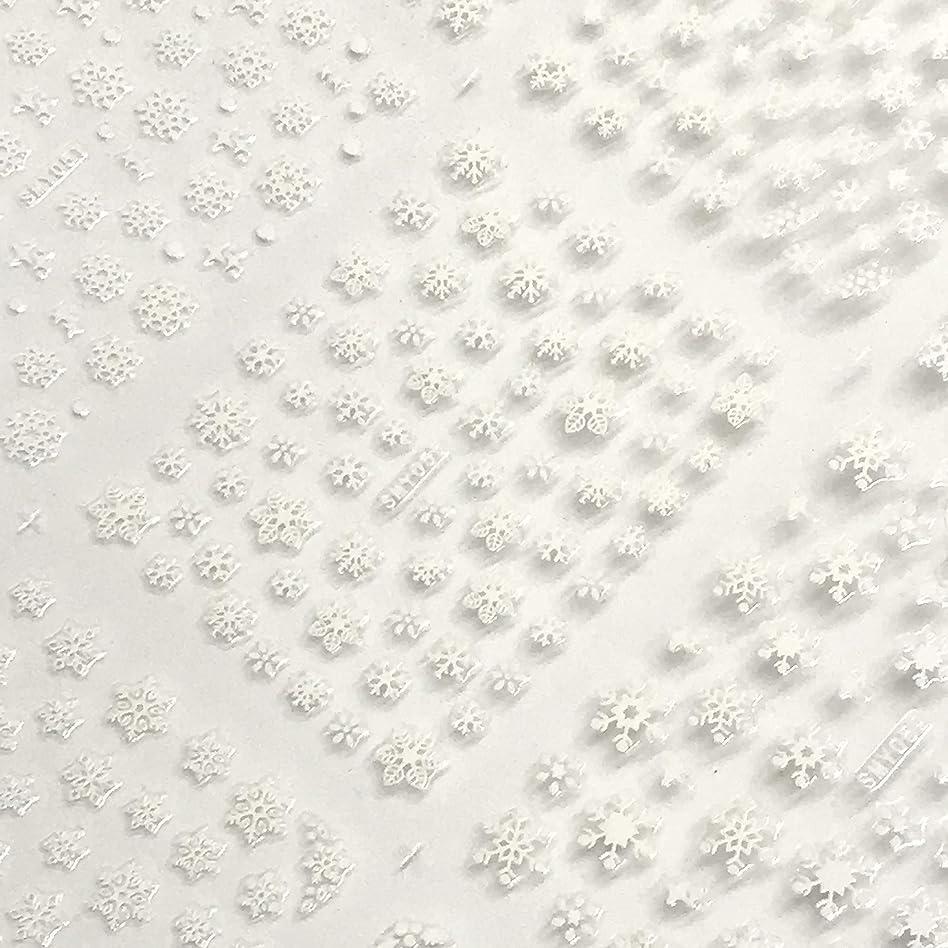 セラー鈍い食事を調理する雪の結晶シール 大判BIGビッグサイズ12種大容量ステッカー ネイル用文具貼り紙雪の花華スノー 3色選べる金銀白 冬 (白 White)