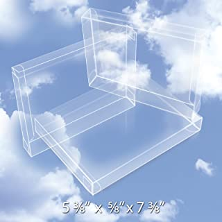 50 Easy Set-up Plastic Boxes (12 Mil) - Crystal Clear Box & Stationery Card Case - Protects Photos, Party Favors, A7 Envelope Protectors - Bulk Packaging & Gift Card Safe - #BOX5-3/8X5/8X7-3/8-B50