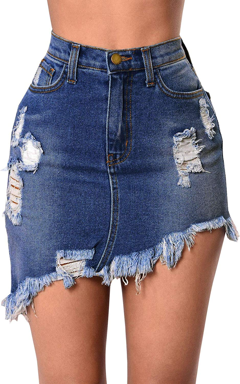 Women's Casual Mid Waisted Washed Frayed Fit Stretch Denim Jean Short Skirt with Pockets