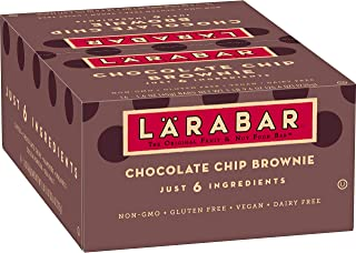 Larabar Gluten Free Bar, Chocolate Chip Brownie, 1.6 oz Bars (16 Count), Whole Food Gluten Free Bars, Dairy Free Snacks