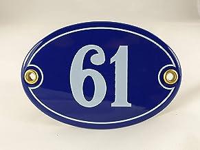 Emaille huisnummer bord nr. 61, ovaal, blauw-wit Nr. 61 Blau-Weiß + Schrauben und Dübel