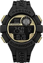 Superdry Quartz Watch with Silicone Strap, Black (Model: SYG193BG)