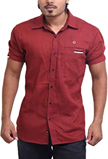 PP Shirts Men Maroon Coloured Solid Shirt