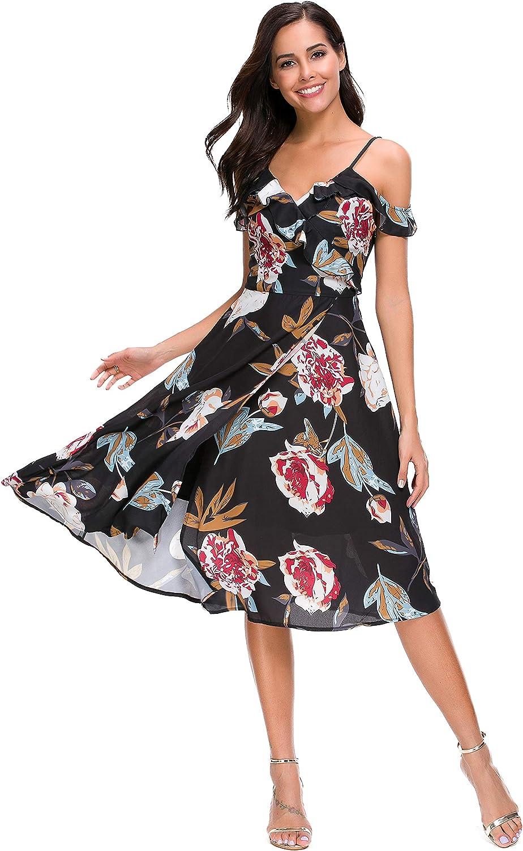 TOP-MAX Women's Dresses, V Neck Boho Floral Split Prom Party Beach Casual Wedding Guest Flowy Long Maxi Dress