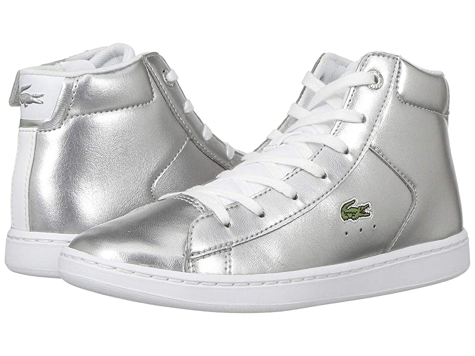 Lacoste Kids Carnaby Evo Mid 318 (Little Kid) (Silver/White) Girl