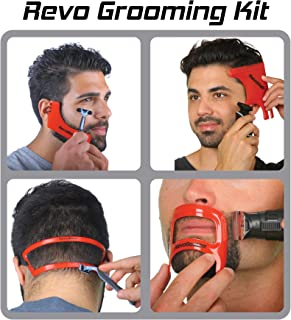 Revo Haircut Kit - Beard, Hair, Goatee, and Neckline Shaving Template Guide - Perfect Hairline Lineup and Beard Shaping To...