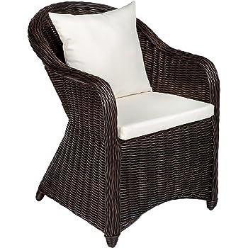 TecTake Aluminio Silla de jardín sillón Sofa de Mimbre poliratán ...