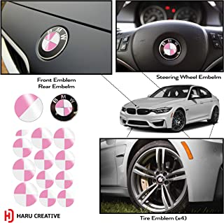 Haru Creative - Vinyl Overlay Aftermarket Decal Compatible with and Fits All BMW Emblem Caps for Hood Trunk Wheel Fender (Emblem Not Included) - Gloss White and Pink