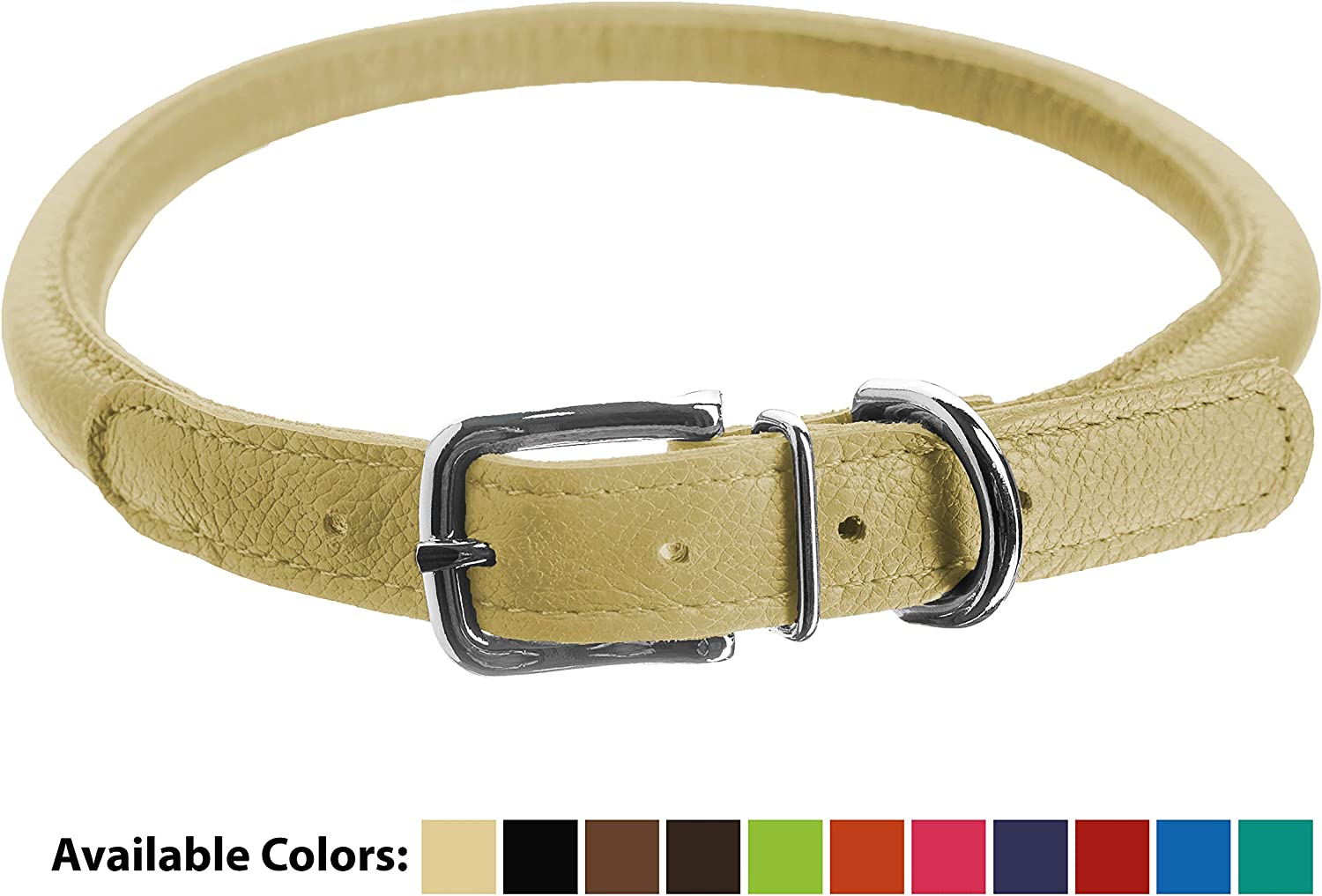 Dogline 1 2Inch Wide Soft Padded Rolled Round Leather Dog Collar, 19 to 22Inch Length, Beige