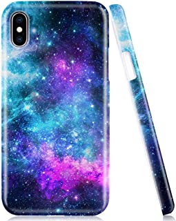 iPhone X Case, iPhone Xs Phone Case, Protective Cover for Apple iPhone X/XS, Soft Silicone Shockproof TPU Shell with Blue Purple Space Galaxy Nebula Design for Women Girls