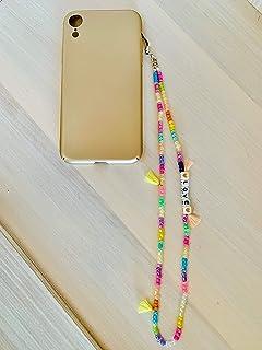 Phone strap perline charm HipHop personalizzato con lettere e nome. Porta cellulare da polso e gioiello per il tuo telefon...