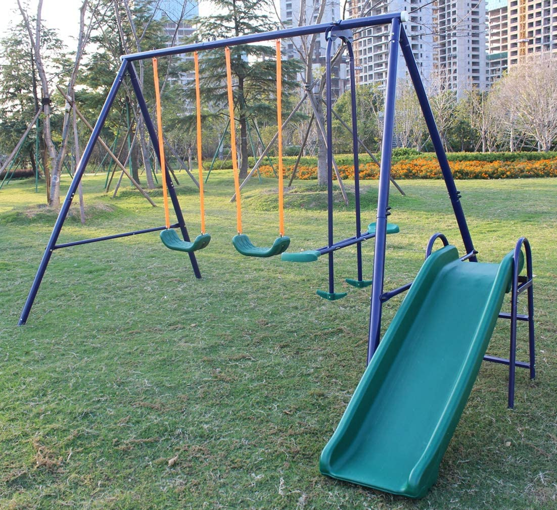 KLB Sport A-Frame Metal Swing Ranking TOP17 Set Selling and selling Blue w Slide Green
