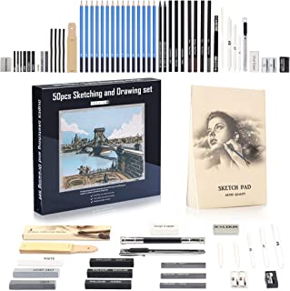 Love Art Premium Drawing Pencil Set(50pcs), Sketching Pencil Kit for Shading and Blending, including Graphite Pencil, Char...