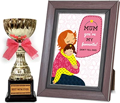 Mothers Day Gift for Mother in Law   Gifts for mom on Mothers Day Golden Trophy with Mothers Day Special Quoted Frame by TIED RIBBONS