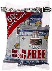 India Gate Basmati Rice Super, 1kg (with Free 500g)