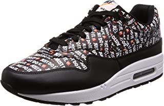 Mens Air Max 1 Premium Fashion Sneaker (Just Do It) (13 M US, Black/White-Total Orange)
