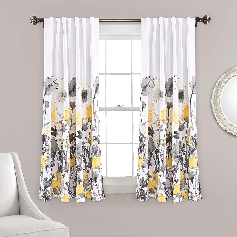 Lush Decor Zuri Flora Room Darkening Window Curtain Panel Pair, 63