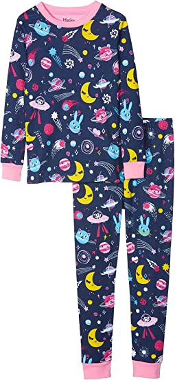 Animal Cosmos Glow Organic Cotton Pajama Set (Toddler/Little Kids/Big Kids)
