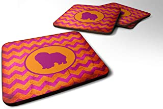 "Caroline's Treasures SDK1125-B-FC Chow Chow Chevron Pink and Orange Foam Coasters (Set of 4), 3.5"" H x 3.5"" W, Multicolor"