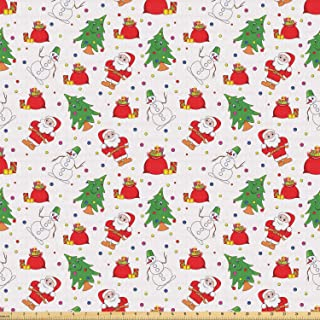 Ambesonne Christmas Fabric by The Yard, Xmas Santa Claus Tree on Colorful Polka Dot Backdrop Surprise Boxes Artwork, Stretch Knit Fabric for Clothing Sewing and Arts Crafts, 1 Yard, Green Red