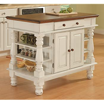 Amazon Com Crosley Furniture Kitchen Island With Butcher Block Top White Kitchen Islands Carts